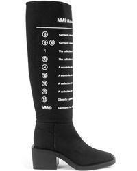 MM6 by Maison Martin Margiela Block Heel Knee High Boots - Black