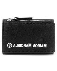 MM6 by Maison Martin Margiela Reverse Logo Small Zip Wallet - Black