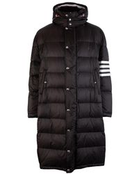 Thom Browne Four-bar Oversized Funnel Neck Down Coat - Black
