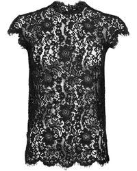 DSquared² Floral Lace Cap Sleeve Blouse - Black