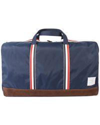 Thom Browne Nylon And Suede Duffle Bag - Blue