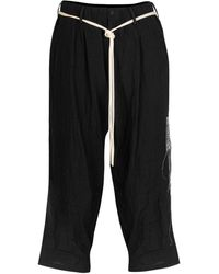 Yohji Yamamoto Wide Leg Waist Tie Linen Pants - Black