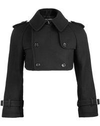 Junya Watanabe Wool Cropped Pea Jacket Black