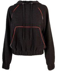 MSGM Cropped Cotton Tweed Hoodie - Black