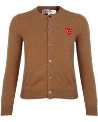 COMME DES GARÇONS PLAY N075 Double Eye Red Heart Cardigan Beige - Natural