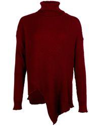 Marques'Almeida Merino Wool Asymmetric Turtleneck Jumper - Red