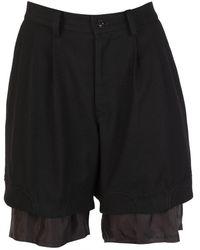 Y's Yohji Yamamoto Layered Pleated Wool Shorts - Black