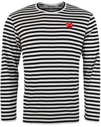 COMME DES GARÇONS PLAY T208 Long Sleeved Stripe T-shirt Navy - Blue