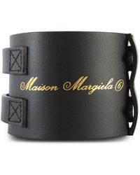 MM6 by Maison Martin Margiela Leather Bracelet Black