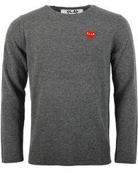 COMME DES GARÇONS PLAY - N068 Red Heart Crew Neck Sweater Grey - Lyst