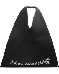 MM6 by Maison Martin Margiela Logo Print Mesh Japanese Tote Bag Black