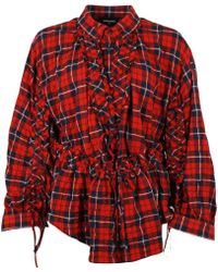 DSquared² Check Print Ruched Detail Shirt - Red