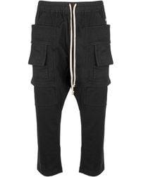Rick Owens Drkshdw Creatch Cargo Cropped Jersey Drawstring Pants - Black