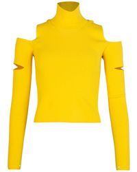 MM6 by Maison Martin Margiela Cut-out Detail Roll Neck Top Yellow