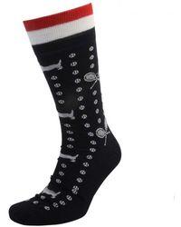 Thom Browne Tennis Hector Intarsia Knit Socks - Black
