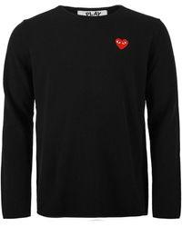 COMME DES GARÇONS PLAY N068 Red Heart Crew Neck Jumper Black