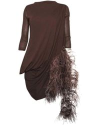 Rick Owens Marabout Feather Strap Top - Brown