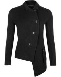 Yohji Yamamoto Cotton Jersey Asymmetric Jacket - Black