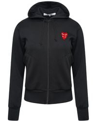 COMME DES GARÇONS PLAY T293 Double Eye Red Heart Hoodie Black