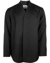 Jil Sander Wool V-neck Overshirt - Black