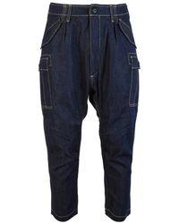 Junya Watanabe Cropped Denim Cargo Trousers - Blue