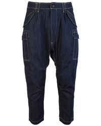 Junya Watanabe Cropped Denim Cargo Pants - Blue