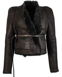 Rick Owens Lamb Shearling Nomi Jacket - Black