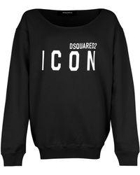 DSquared² Icon Print Boat Neck Sweatshirt Black