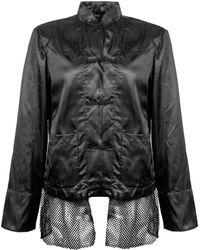 Comme des Garçons Mandarin Collar Mesh Detail Jacket - Black