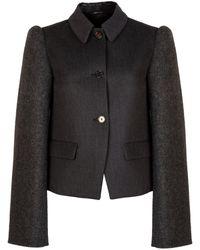 Maison Margiela Wool Herringbone Sleeve Jacket - Black