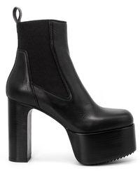 Rick Owens Leather Beetle Kiss 45 Platform Boots - Black