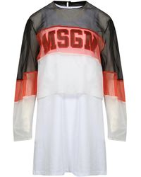 MSGM Double Layered Sheer Tank Top Dress - White