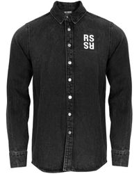 Raf Simons Logo Patch Denim Overshirt Black