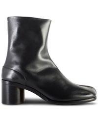Maison Margiela - Tabi Leather Boots Black - Lyst