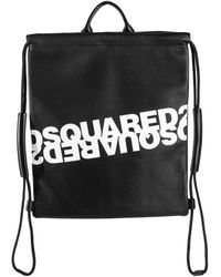 DSquared² Logo Print Leather Drawstring Bag - Black