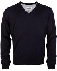 Maison Margiela Contrast Panel V-neck Sweater - Blue