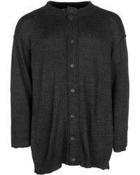 Yohji Yamamoto Distressed Detail Rib Knit Cardigan - Black