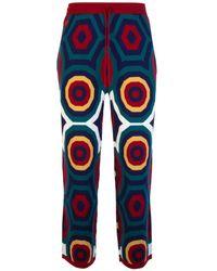 Charles Jeffrey LOVERBOY Merino Wool Hex Track Trousers - Blue