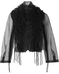 Comme des Garçons Ruffle Sheer Jacket - Black