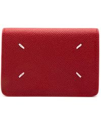Maison Margiela - Leather Four Stitch Snap Wallet Red - Lyst