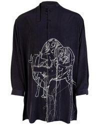Yohji Yamamoto Stand Collar Embroidered Detail Shirt - Blue