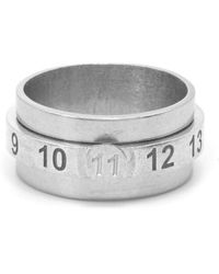 Maison Margiela Silver Engraved Numbers Ring - Metallic