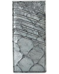 Rick Owens Vertical Pirarucu Leather Card Holder - Metallic