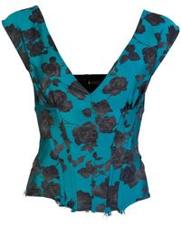 Marques'Almeida Brocade Floral V-neck Corset Top - Blue