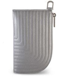 Rick Owens Larry Leather Zip Pouch Aluminium - Grey