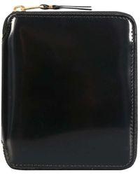 Comme des Garçons Sa2100mi Patent Leather Zip Wallet Black/gold - Metallic