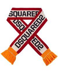 DSquared² Logo Jacquard Scarf Red/orange