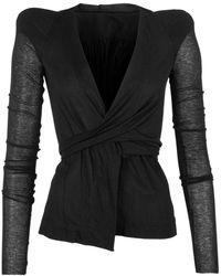 Rick Owens Lilies Structured Shoulder Wrap Front Jacket - Black