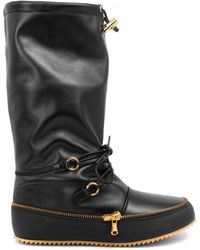 JW Anderson Toggle Detail Leather Boots - Black