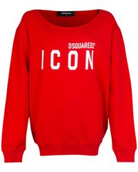 DSquared² Icon Print Boat Neck Sweatshirt Red